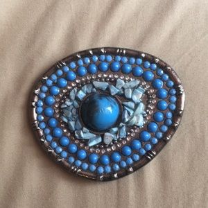 Accessories - VINTAGE TURQUOISE STONE BELT BUCKLE